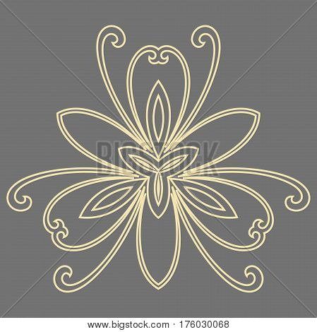 Floral golden pattern with fine arabesques. Abstract oriental ornament