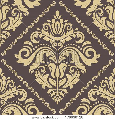 Damask classic brown and golden pattern. Seamless abstract background with repeating elements