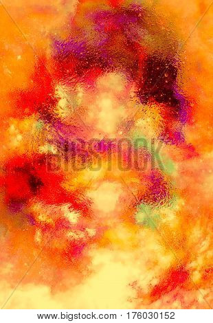 Cosmic space and stars, color cosmic abstract background. Fire effect in space