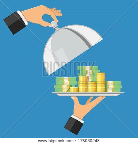 hand holds tray with money and coins. other hand holds cover. concept of bank loans, mortgages, investments. icon in flat style. isolated vector illustration