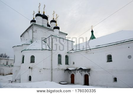 Alexandrov Russia - January 8 2015: View of Church of the Assumption located in the Alexandrov kremlin the former residence of Tsar Ivan the Terrible in the 16th century.