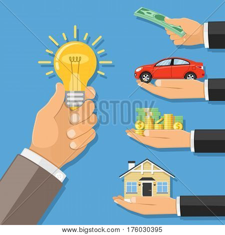hand with light bulb and other hand giving money, car, house. crowdfunding, innovation, idea, investments concept. flat style icons. isolated vector illustration