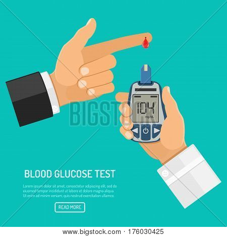 doctor hand holds blood glucose meter and finger with blood drop. blood sugar level testing, treatment, monitoring and diagnosis of diabetes concept. icon in flat style. isolated vector illustration