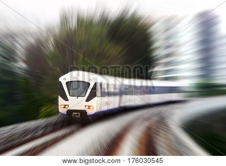 Light Rail Train in fast blurr motion