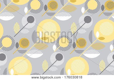 abstract stylized floral. creative pale color sixties seamless pattern. modern textured  geometry flower vector illustration. pastel gray and yellow daisy in 60s style on gray background