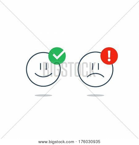 Bad, good experience, happy, unhappy emoji icons, customer support services, feedback concept, positive, negative emotions, vector flat illustration