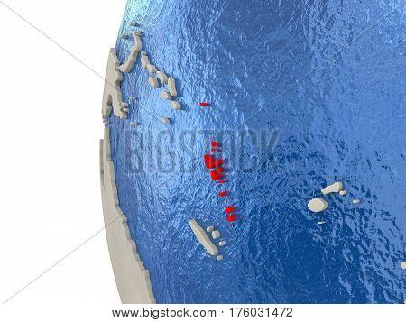 Vanuatu On 3D Globe