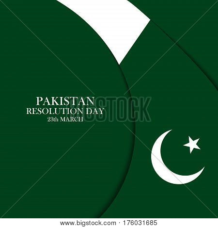 Pakistan Resolution Day 23 march celebration  card. Vector illustration.