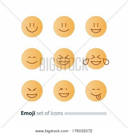 Set of flat yellow emoji icons, facial expressions, emoticon vector flat design