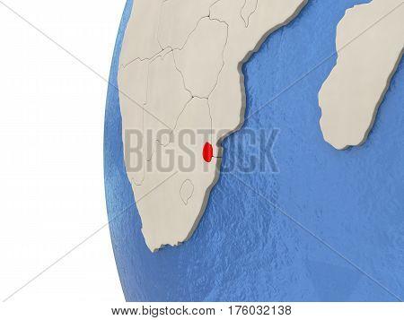 Swaziland On 3D Globe