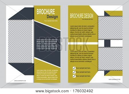 Brochure template Flyer design dark yellow and gray color template,  abstract template for annual report, magazine, poster