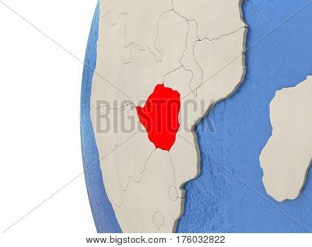 Zimbabwe On 3D Globe