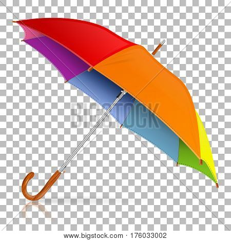 High Detailed varicolored Umbrella on transparent background, isolated vector illustration