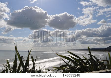 Seascape of Maukatia orMaori Bay in New Zealand