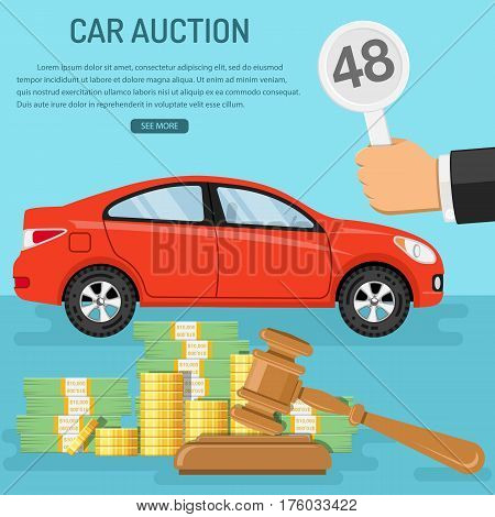 Auctions and bidding concept. Buyer holding in hand bid. Gavel and money. Sale car at auction. icon in flat style. isolated vector illustration