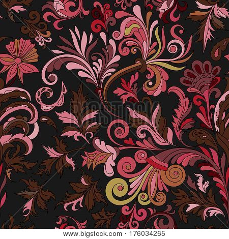 Vector floral seamless pattern with colorful fantasy plants and curls. Vinous and beige colors.