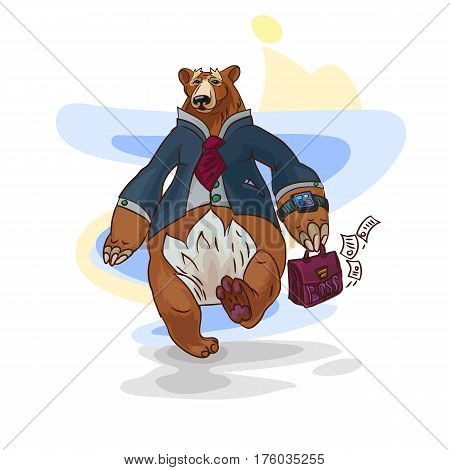 conceptual illustration with funny business character, big bear walking