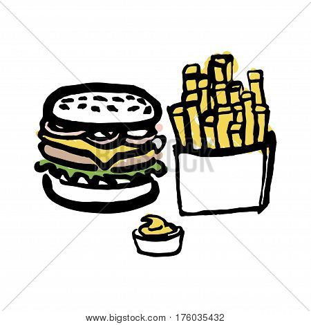 Burger and fries with mayonnaise sauce hand drawn with thick lines