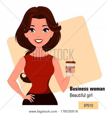 Young cartoon businesswoman dressed in office clothes standing with coffee while coffee-break. Beautiful brunette girl. Fashionable modern lady. Vector illustration. EPS10