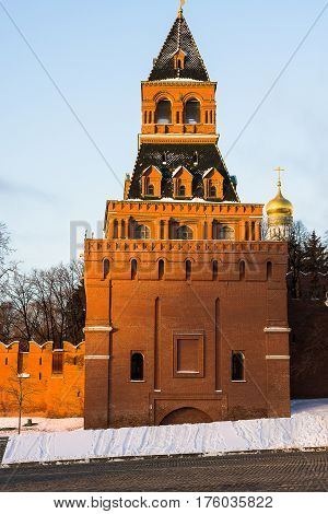 The Konstantin-Elenin Tower of the Moscow Kremlin in the winter evening in Moscow
