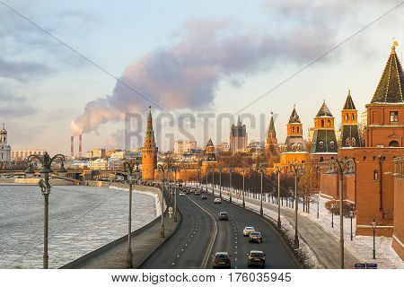 Moscow, Russia - January 30, 2017: View of the Moscow Kremlin and the Kremlin embankment on a sunny evening