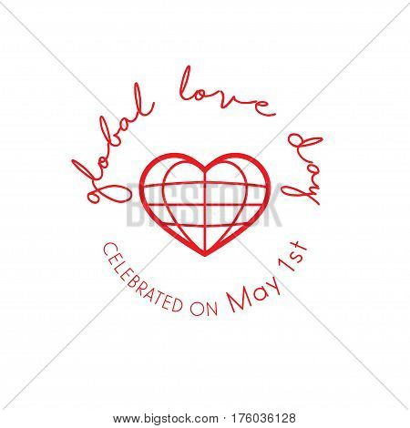 Global Love Day greeting card celebrated on May 1st