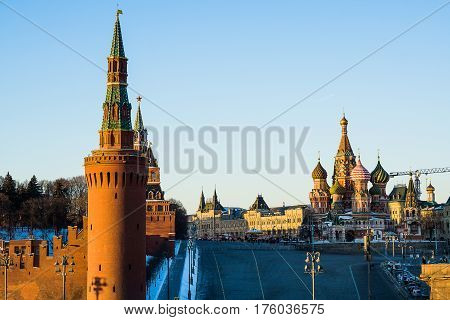 View of the Moscow Kremlin and St. Basil's Cathedral from Vasilyevsky Spusk Square
