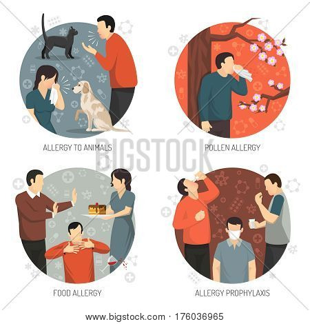 Colored flat and isolated allergic design icon set with allergy to animals pollen and food allergies and prophylaxis descriptions vector illustration