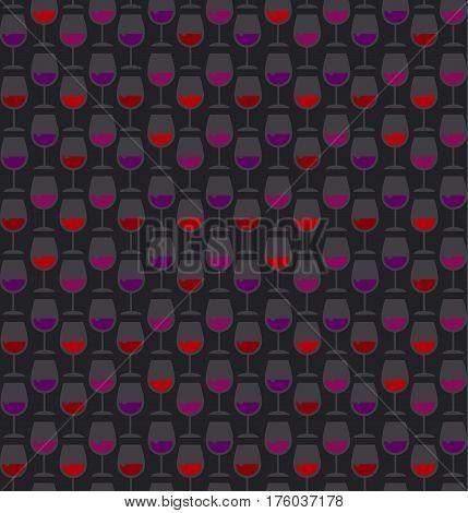 Restaurant wine bar seamless black pattern with wine glass. Seamless wineglass background vector illustration