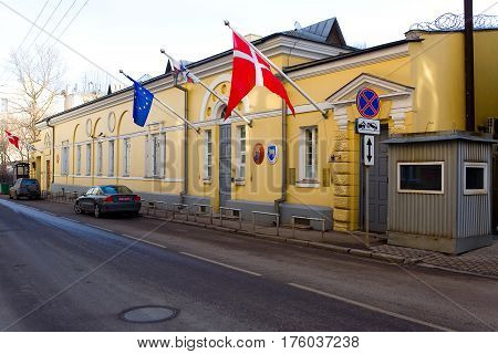 Moscow Russia March 9 2017: The building of the Embassy of the Kingdom of Denmark in Moscow. Russia.