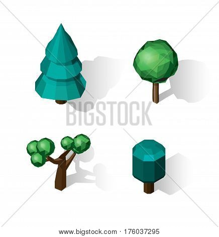 Isometric vector tree set. Landscape constructor kit. Different trees for make design. Low poly spruce, apple, decorative shrub, linden, maple, pine and firtree.