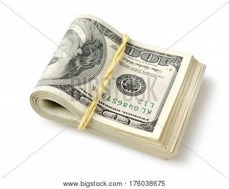 Bundle of money isolated on a white background