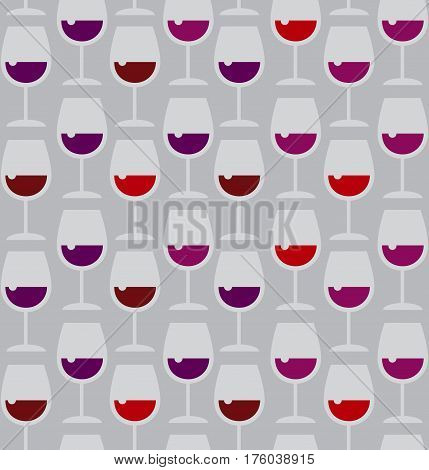 Restaurant wine bar seamless pattern with red wine glass. Seamless wineglass background vector illustration
