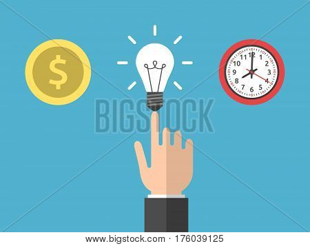 Hand choosing idea instead of money and time. Gold dollar coin light bulb and clock on blue. Creativity and work concept. Flat design. Vector illustration. EPS 8 no transparency