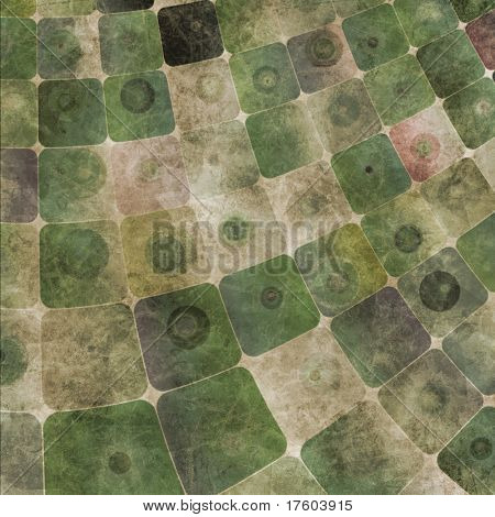 An abstract grungy image of squares curved,  in green tones