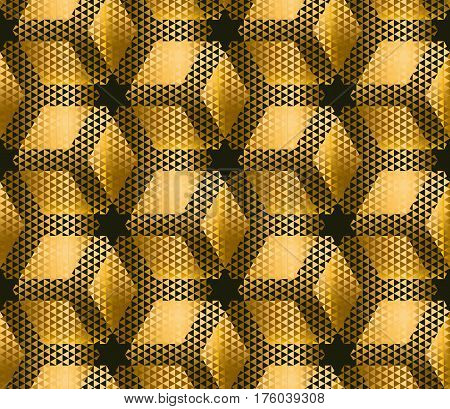 elegant modern creative geometry background. gold metal shine seamless pattern for wrapping paper, packing, fabric, decoration. trendy arabic repeatable motif