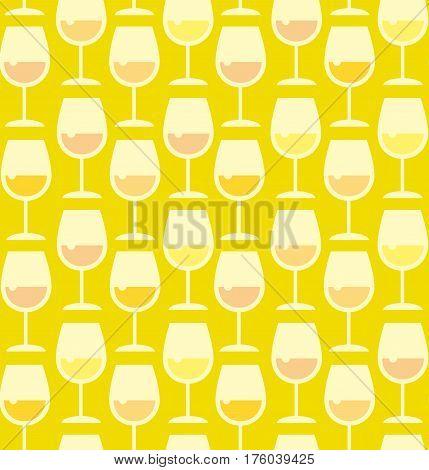 Restaurant wine bar seamless pattern with wine glass. Seamless wineglass with whie wine background vector illustration