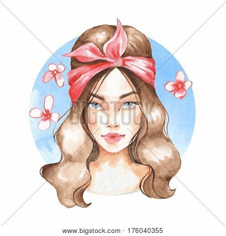 Summer girl. Hand drawn watercolor female face, watercolor painting