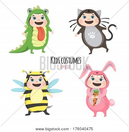 Set of cute kids wearing animal costumes isolated on white background, Little children in their Animal Costumes, Kid with animals costume, cute child in costume, Vector Illustration.
