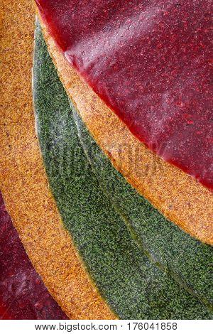 Tklapi - dried mashed fruit pulp / Colorful fruit leather from apricot kiwi dogwood. Georgian and Armenian cuisine. Food background.