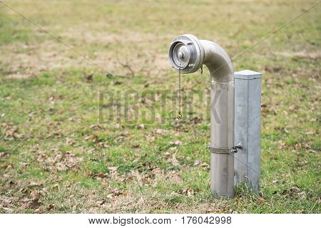 Fire hydrants in the park. Closeup photo