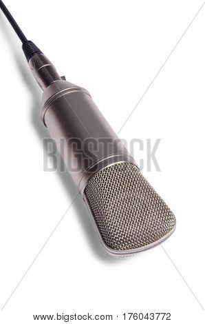 Studio condenser microphone on a white background