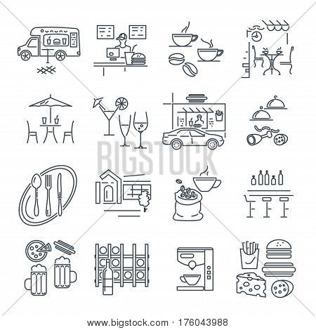 set of thin line icons cafe bar restaurant fast food interior and exterior