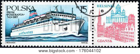 UKRAINE - CIRCA 2017: A stamp printed in POLAND shows Ferryboats Pomernia circa 1986