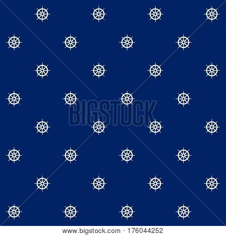 Ship's Wheel on Blue Background , Seamless Marine Pattern , Travel and Tourism Concept, Vector Illustration
