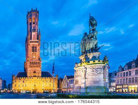 Grote Markt square in medieval city Brugge Belgium.