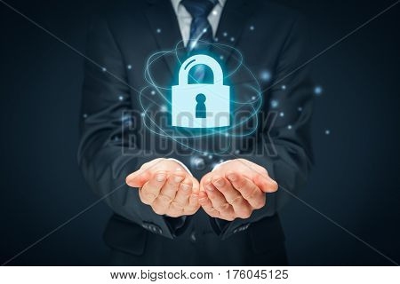 Security services cybersecurity and protection concept. Login, sign in concepts. Businessman offer padlock symbol of security.