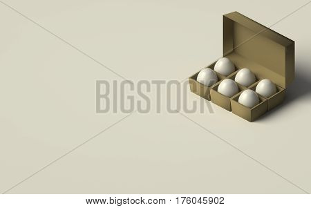 EGGS IN AN EGG BOX ON PLAIN BACKGROUND
