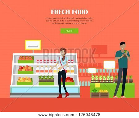 Fresh food in supermarket concept web banner. Flat style. Shopping in grocery store. Customers choose daily products from mall shelves. Illustration for retail shops adventuring and web page design.