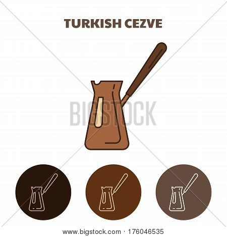Turkish coffee pot. Metal container for making strong Turkish coffee. Cezve icon.